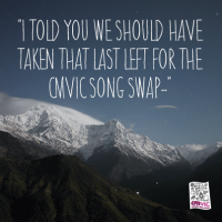 I told you we should have taken that last left for the CMVic Song Swap - image is of snowy mountains -